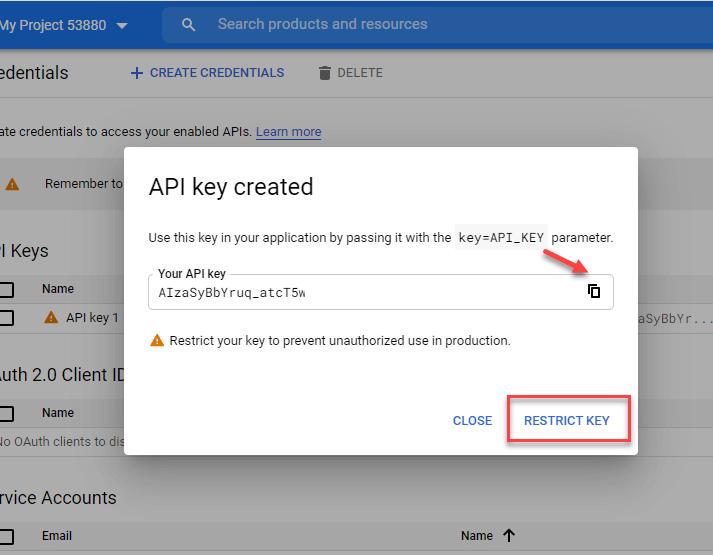 کپی کد api key ایجاد شده