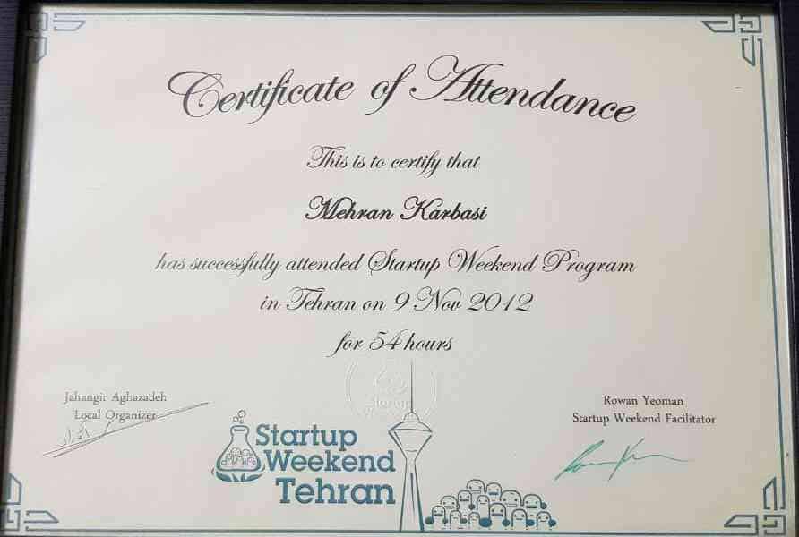 Startup Weekend Tehran  گواهینامه